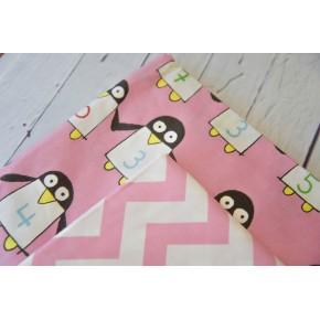 """0721 Хлопок Сатин 100% """"Пингвины на розовом"""""""