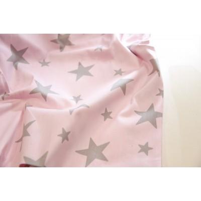 """0150 Хлопок Сатин 100% 160 см """"Серые звезды на розовом"""""""