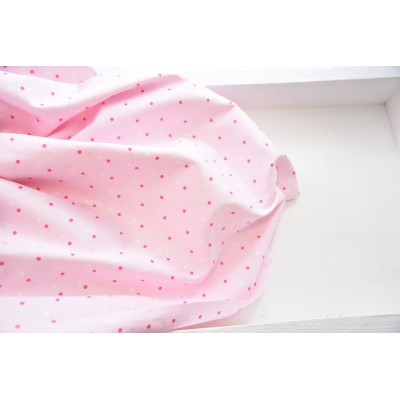 "0033 Хлопок Сатин 100 % ""Розово-белые точки на нежно-розовом"""