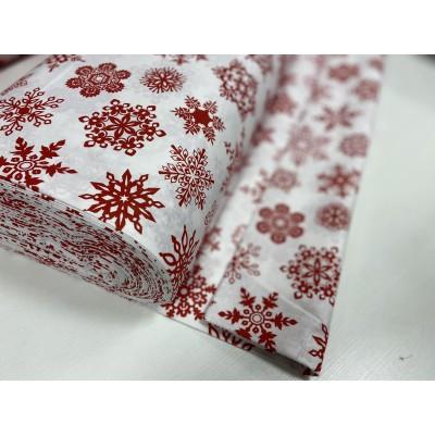 """000016  Хлопок Ранфорс Турция 100% """"Красные снежинки на белом   """" 240 см"""