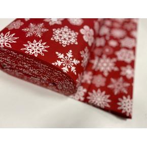 """000016  Хлопок Ранфорс Турция 100% """" Белые снежинки на красном  """" 240 см"""