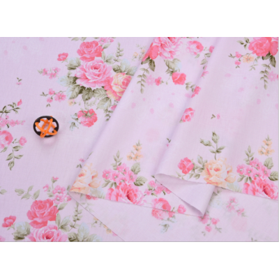 """003910 Хлопок Сатин 100% 160 см """"Цветы розовые на нежно- розовом"""""""
