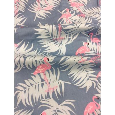 0799 Хлопок Сатин 100% Мятные фламинго на розовом