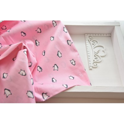777 Хлопок Сатин 100% Пингвинята на розовом