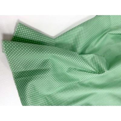 """0089 Хлопок Сатин 100% 160 см """"Мелкий горошек на зелени"""""""