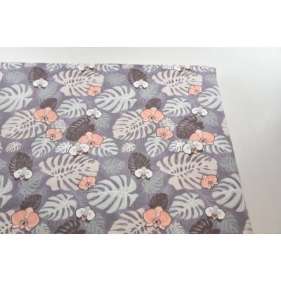0699 Хлопок Сатин 100% Тропические листья на серо-фиолетовом