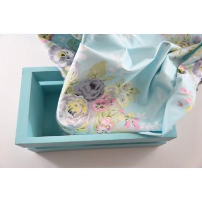 000 Хлопок Сатин 100% Цветы акварелью на голубом