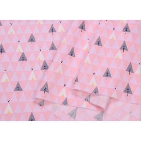 """0122 Хлопок Сатин 100% 160 см """"Деревья - треугольники на розовом"""""""