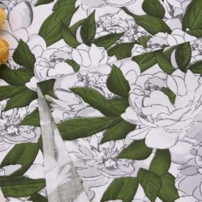 """0135  Хлопок Сатин 100%   """" Зелень и белые цветы"""""""