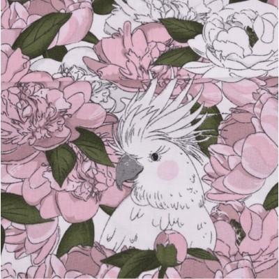 """1084  Хлопок Сатин 100% """"Попугай в розовых ветвях"""""""